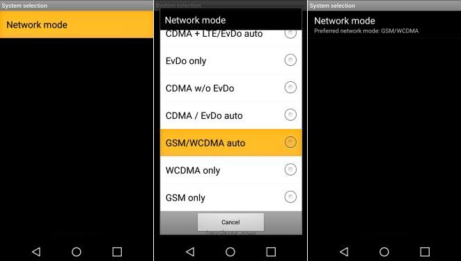 tribute hd gsm network mode selection