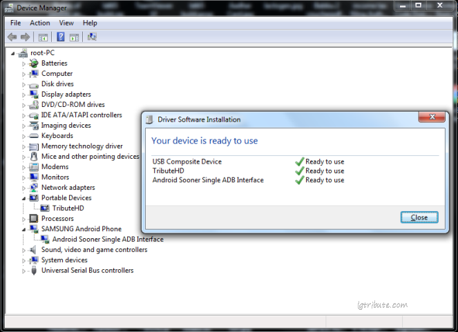tribute hd adb usb driver installation