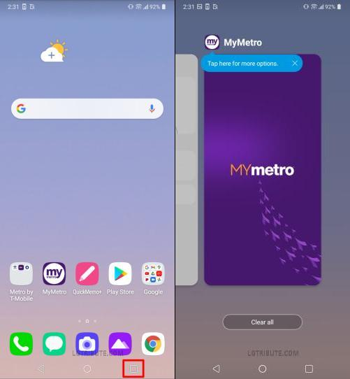 lg stylo 6 recent apps